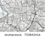black and white vector city map ... | Shutterstock .eps vector #753842416