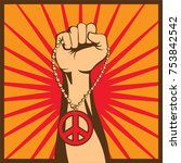 clenched hands clasped peace... | Shutterstock .eps vector #753842542