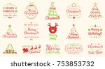 set of red and green christmas... | Shutterstock .eps vector #753853732