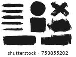set of black paint  ink brush... | Shutterstock .eps vector #753855202