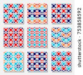 set of vector seamless pattern... | Shutterstock .eps vector #753858592