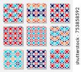 set of vector seamless pattern... | Shutterstock .eps vector #753858592
