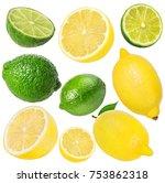 fresh lemon and  lime  isolated ...   Shutterstock . vector #753862318