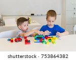 two child boy playing with... | Shutterstock . vector #753864382