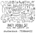 set of party illustration hand... | Shutterstock .eps vector #753866422