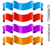 ribbon banners. shiny colored... | Shutterstock . vector #753868672