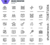 thin line online education  e... | Shutterstock .eps vector #753871006