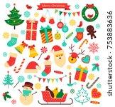 christmas retro icons set.... | Shutterstock .eps vector #753883636