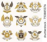 collection of vector heraldic... | Shutterstock .eps vector #753885376