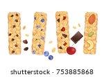granola bars isolated on white. ...   Shutterstock .eps vector #753885868