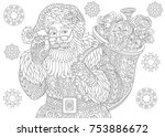 coloring page of santa claus... | Shutterstock .eps vector #753886672