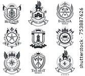 heraldic signs vector vintage... | Shutterstock .eps vector #753887626