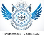 vintage winged emblem made in... | Shutterstock .eps vector #753887632