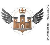 ancient citadel emblem.... | Shutterstock .eps vector #753888142
