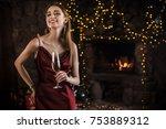 elegant woman in evening dress... | Shutterstock . vector #753889312