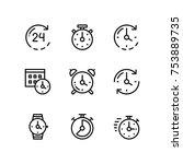 set of time  clock  watch ... | Shutterstock .eps vector #753889735