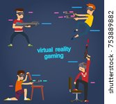 boys use virtual reality... | Shutterstock .eps vector #753889882