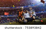 winnder soccer players confetti  | Shutterstock . vector #753893842