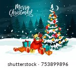 christmas tree with gift... | Shutterstock .eps vector #753899896