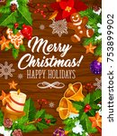 merry christmas and happy... | Shutterstock .eps vector #753899902
