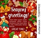 winter holiday season greetings ... | Shutterstock .eps vector #753899932