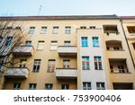 orange apartment house with... | Shutterstock . vector #753900406