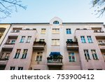 pink facaded apartment building ... | Shutterstock . vector #753900412