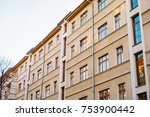 orange apartment building with... | Shutterstock . vector #753900442