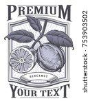bergamot vector vintage label.... | Shutterstock .eps vector #753903502