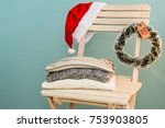 santa hat on the chair with... | Shutterstock . vector #753903805