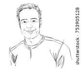 vector art drawing  portrait of ... | Shutterstock .eps vector #753905128