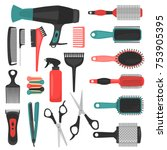 barber tools color icons set | Shutterstock .eps vector #753905395