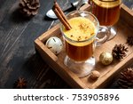 hot buttered rum cocktail with... | Shutterstock . vector #753905896