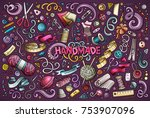 colorful vector hand drawn... | Shutterstock .eps vector #753907096