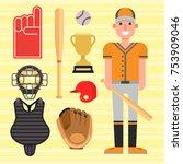 cartoon baseball player icons... | Shutterstock .eps vector #753909046