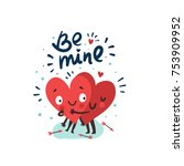 "Couple in love concept, two cute hearts hugging. Hand Drawn Lettering ""Be mine"". Valentine's Day Vector Card  