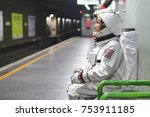 an astronaut just landed from... | Shutterstock . vector #753911185