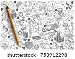 hand drawn poker vector doodle... | Shutterstock .eps vector #753912298