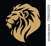 lion gold logo vector template | Shutterstock .eps vector #753913225