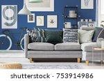 navy blue hipster living room... | Shutterstock . vector #753914986