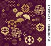 beautiful japanese seamless ...   Shutterstock .eps vector #753916675