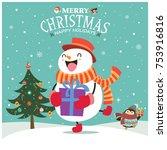 vintage christmas poster design ... | Shutterstock .eps vector #753916816