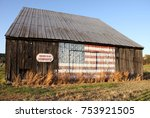 old wooden tobacco barn with... | Shutterstock . vector #753921505