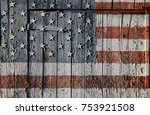 united states flag painted on... | Shutterstock . vector #753921508