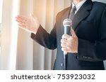 smart businessman speech and... | Shutterstock . vector #753923032