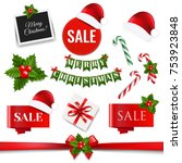 xmas collection with gradient... | Shutterstock .eps vector #753923848