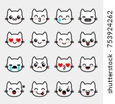 emoticons with white kitten.... | Shutterstock .eps vector #753924262