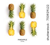 seamless pattern with pineapple.... | Shutterstock . vector #753929122