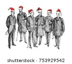 christmas retro party.... | Shutterstock .eps vector #753929542