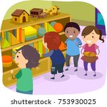 illustration of stickman kids... | Shutterstock .eps vector #753930025